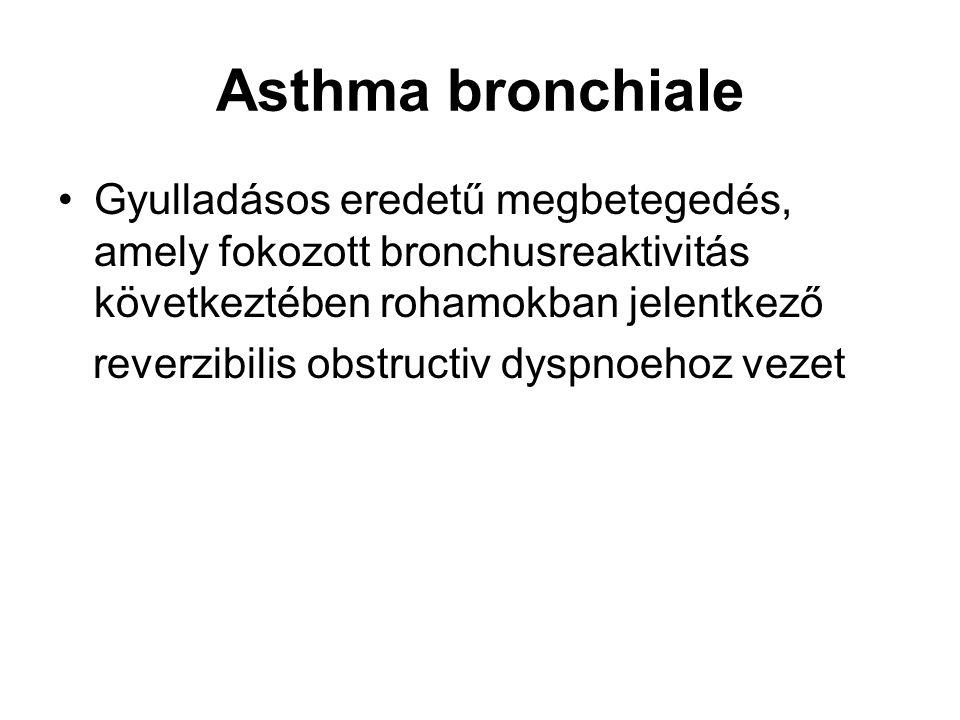 Asthma bronchiale Gyulladásos eredetű megbetegedés, amely fokozott bronchusreaktivitás következtében rohamokban jelentkező reverzibilis obstructiv dys