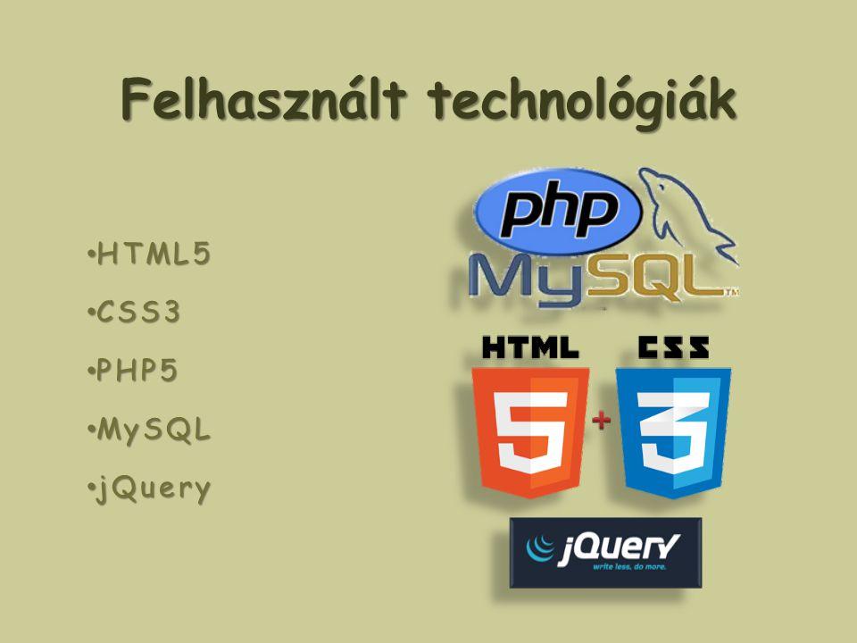Felhasznált technológiák HTML5 HTML5 CSS3 CSS3 PHP5 PHP5 MySQL MySQL jQuery jQuery