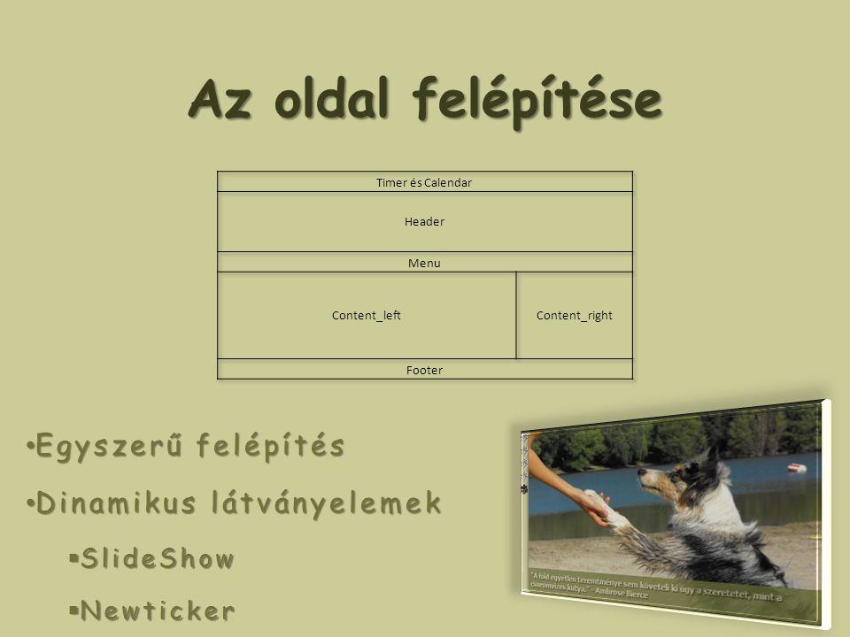 Az oldal felépítése Egyszerű felépítés Egyszerű felépítés Dinamikus látványelemek Dinamikus látványelemek  SlideShow  Newticker