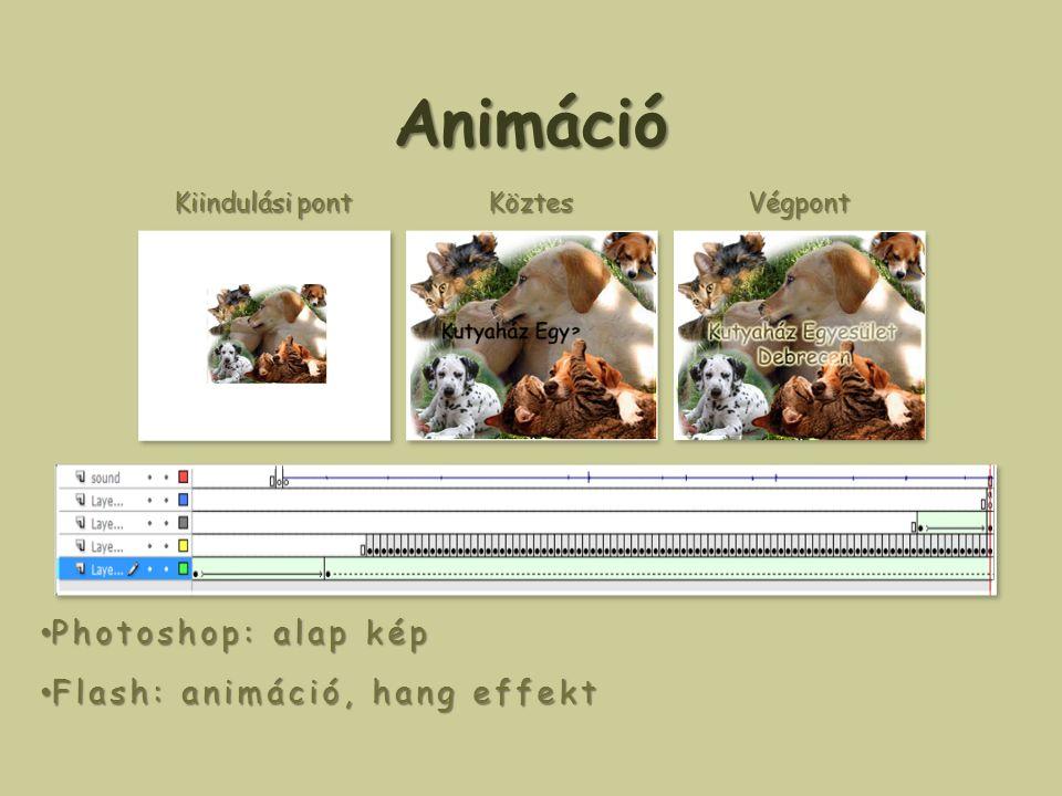 Animáció Photoshop: alap kép Photoshop: alap kép Flash: animáció, hang effekt Flash: animáció, hang effekt Kiindulási pont KöztesVégpont