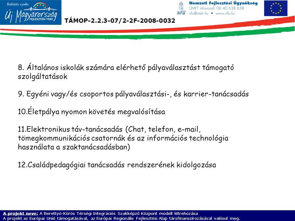 TÁMOP-2.2.3-07/2-2F-2008-0032 A projekt neve: A Berettyó-Körös Térségi Integrációs Szakképző Központ modell létrehozása A projekt az Európai Unió támo