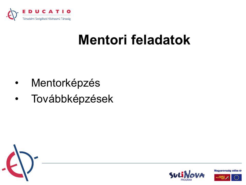 Mentori feladatok Mentorképzés Továbbképzések