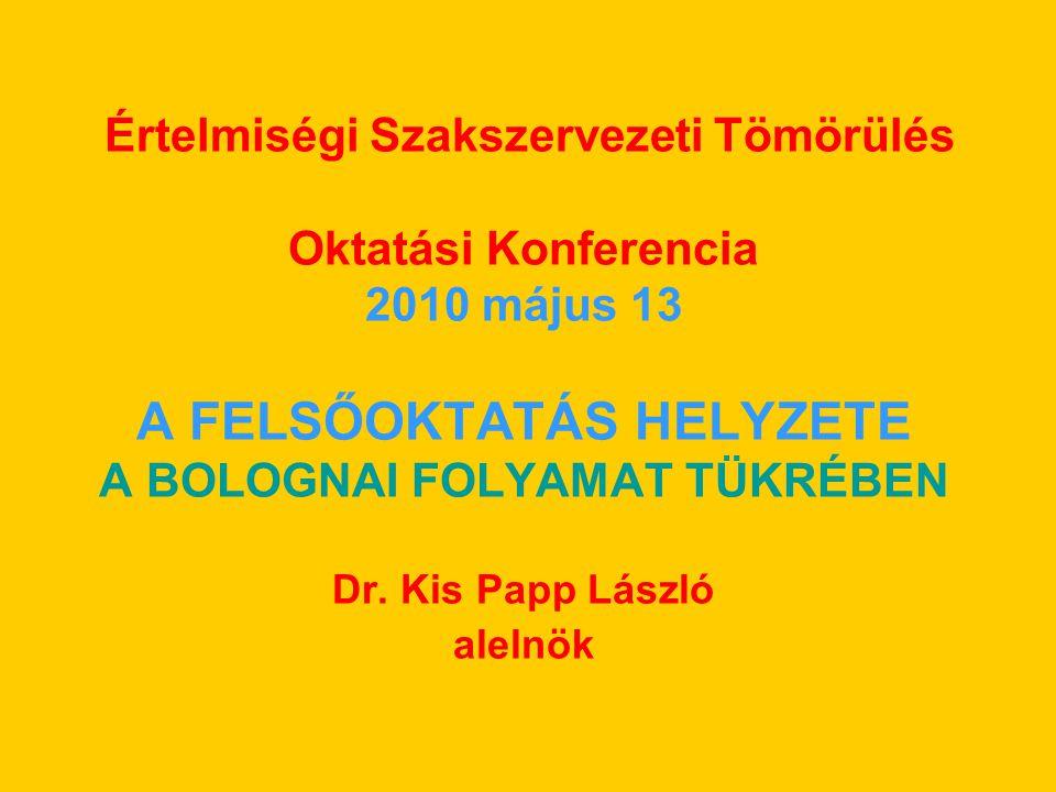 Értelmiségi Szakszervezeti Tömörülés Oktatási Konferencia 2010 május 13 A FELSŐOKTATÁS HELYZETE A BOLOGNAI FOLYAMAT TÜKRÉBEN Dr.
