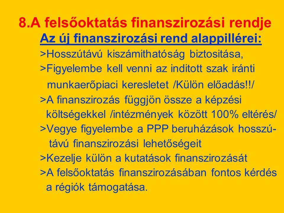 8.A felsőoktatás finanszirozási rendje Az új finanszirozási rend alappillérei: >Hosszútávú kiszámithatóság biztositása, >Figyelembe kell venni az inditott szak iránti munkaerőpiaci keresletet /Külön előadás!!/ >A finanszirozás függjön össze a képzési költségekkel /intézmények között 100% eltérés/ >Vegye figyelembe a PPP beruházások hosszú- távú finanszirozási lehetőségeit >Kezelje külön a kutatások finanszirozását >A felsőoktatás finanszirozásában fontos kérdés a régiók támogatása.