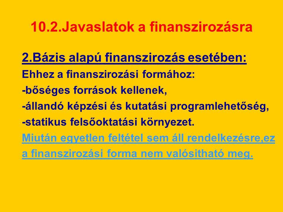 10.2.Javaslatok a finanszirozásra 2.Bázis alapú finanszirozás esetében: Ehhez a finanszirozási formához: -bőséges források kellenek, -állandó képzési és kutatási programlehetőség, -statikus felsőoktatási környezet.