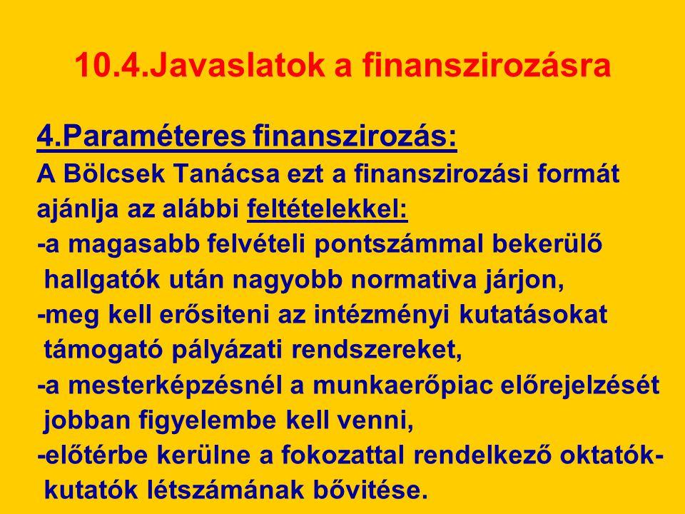 10.4.Javaslatok a finanszirozásra 4.Paraméteres finanszirozás: A Bölcsek Tanácsa ezt a finanszirozási formát ajánlja az alábbi feltételekkel: -a magas