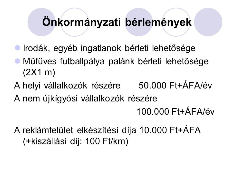 Önkormányzati bérlemények Irodák, egyéb ingatlanok bérleti lehetősége Műfüves futballpálya palánk bérleti lehetősége (2X1 m) A helyi vállalkozók részére 50.000 Ft+ÁFA/év A nem újkígyósi vállalkozók részére 100.000 Ft+ÁFA/év A reklámfelület elkészítési díja 10.000 Ft+ÁFA (+kiszállási díj: 100 Ft/km)