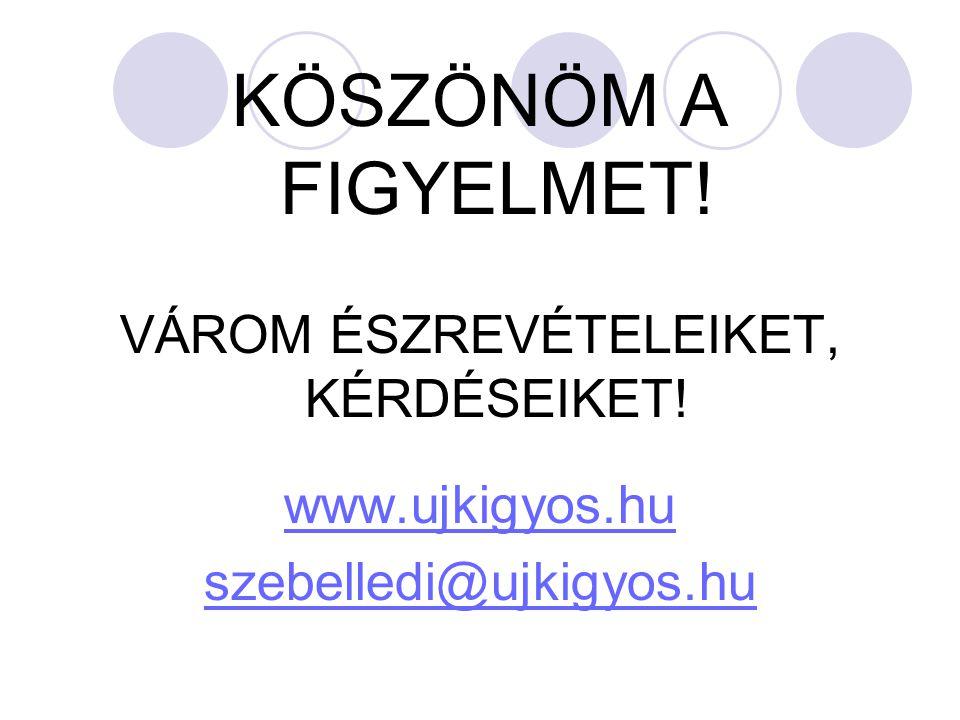 KÖSZÖNÖM A FIGYELMET! VÁROM ÉSZREVÉTELEIKET, KÉRDÉSEIKET! www.ujkigyos.hu szebelledi@ujkigyos.hu