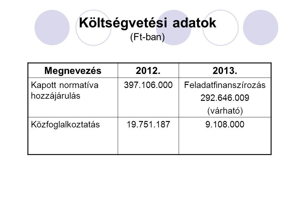 Költségvetési adatok (Ft-ban) Megnevezés2012.2013. Kapott normatíva hozzájárulás 397.106.000Feladatfinanszírozás 292.646.009 (várható) Közfoglalkoztat