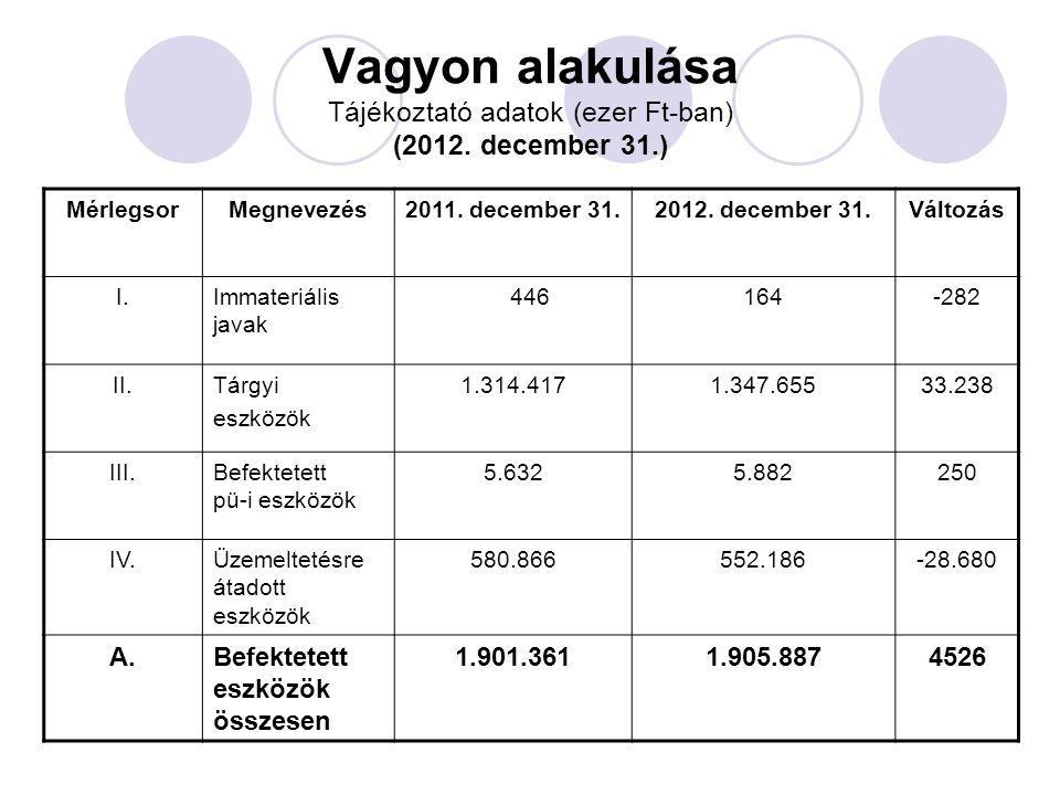 Vagyon alakulása Tájékoztató adatok (ezer Ft-ban) (2012. december 31.) MérlegsorMegnevezés2011. december 31.2012. december 31.Változás I.Immateriális