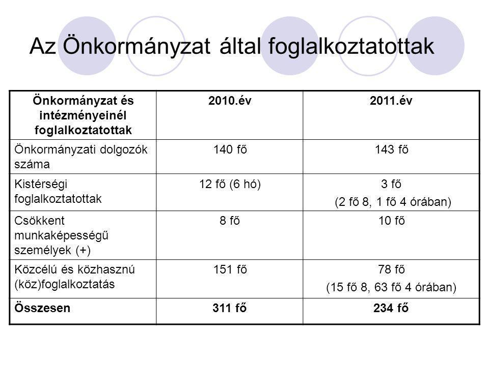 Az Önkormányzat által foglalkoztatottak Önkormányzat és intézményeinél foglalkoztatottak 2010.év2011.év Önkormányzati dolgozók száma 140 fő143 fő Kistérségi foglalkoztatottak 12 fő (6 hó)3 fő (2 fő 8, 1 fő 4 órában) Csökkent munkaképességű személyek (+) 8 fő10 fő Közcélú és közhasznú (köz)foglalkoztatás 151 fő78 fő (15 fő 8, 63 fő 4 órában) Összesen311 fő234 fő