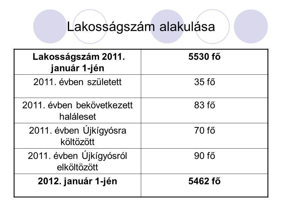 Lakosságszám alakulása Lakosságszám 2011. január 1-jén 5530 fő 2011. évben született35 fő 2011. évben bekövetkezett haláleset 83 fő 2011. évben Újkígy