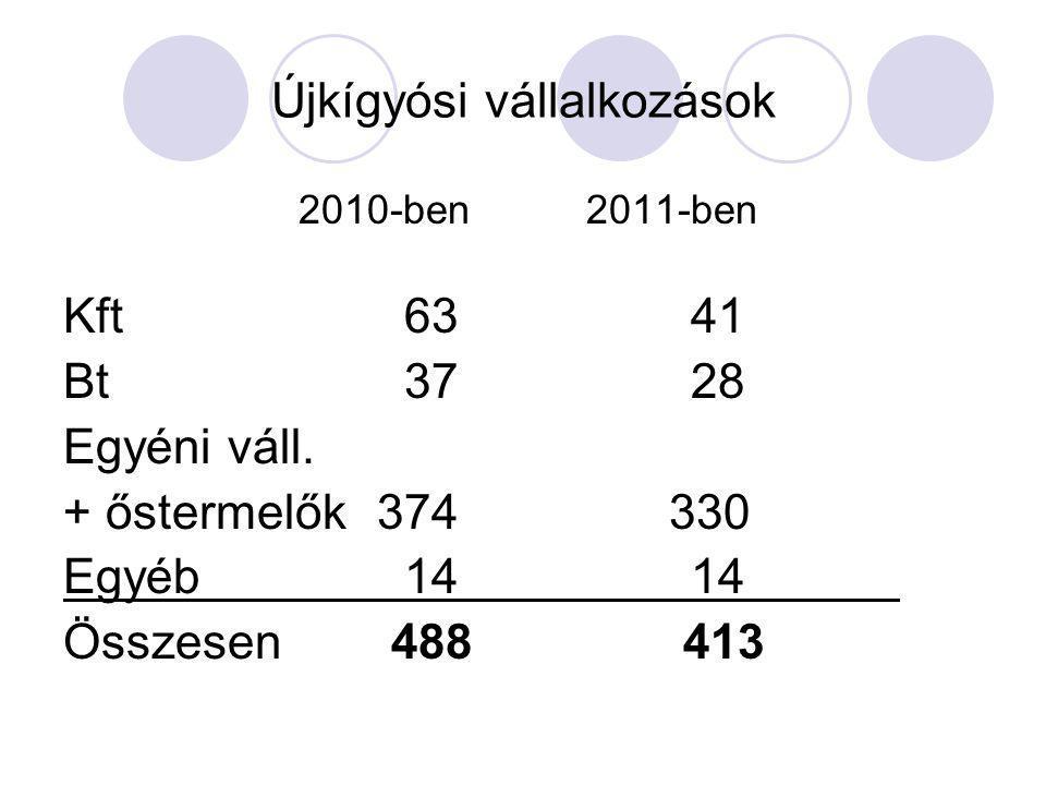 Újkígyósi vállalkozások 2010-ben2011-ben Kft 6341 Bt 3728 Egyéni váll. + őstermelők374 330 Egyéb 1414 Összesen 488 413