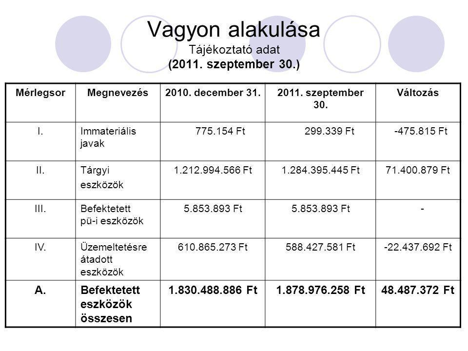 Vagyon alakulása Tájékoztató adat (2011. szeptember 30.) MérlegsorMegnevezés2010. december 31.2011. szeptember 30. Változás I.Immateriális javak 775.1