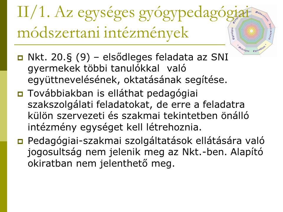 II/1.Az egységes gyógypedagógiai módszertani intézmények  Nkt.