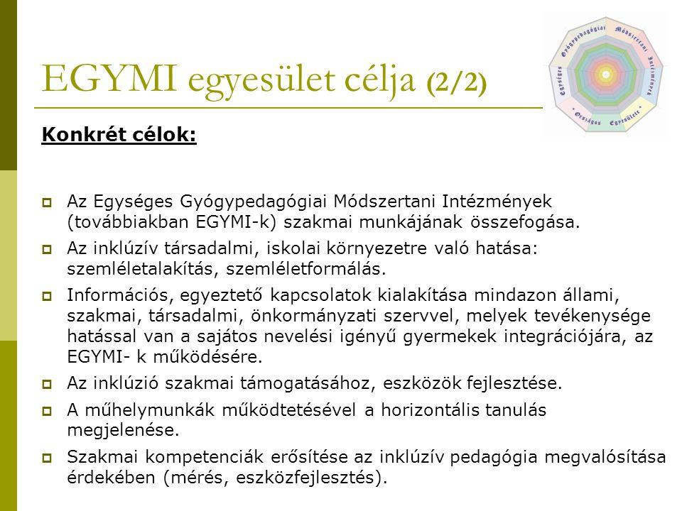 EGYMI egyesület célja (2/2) Konkrét célok:  Az Egységes Gyógypedagógiai Módszertani Intézmények (továbbiakban EGYMI-k) szakmai munkájának összefogása.
