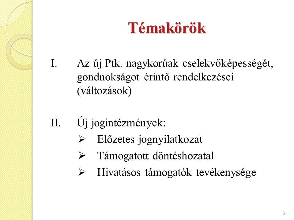 2 Témakörök I.Az új Ptk. nagykorúak cselekvőképességét, gondnokságot érintő rendelkezései (változások) II.Új jogintézmények:  Előzetes jognyilatkozat