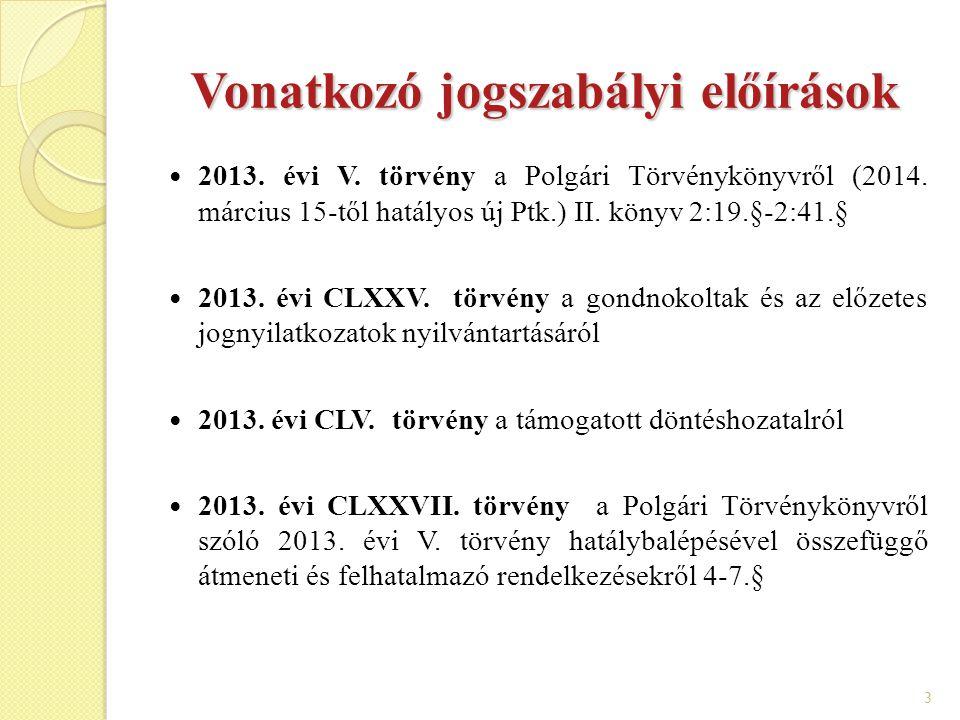 3 Vonatkozó jogszabályi előírások 2013. évi V. törvény a Polgári Törvénykönyvről (2014. március 15-től hatályos új Ptk.) II. könyv 2:19.§-2:41.§ 2013.