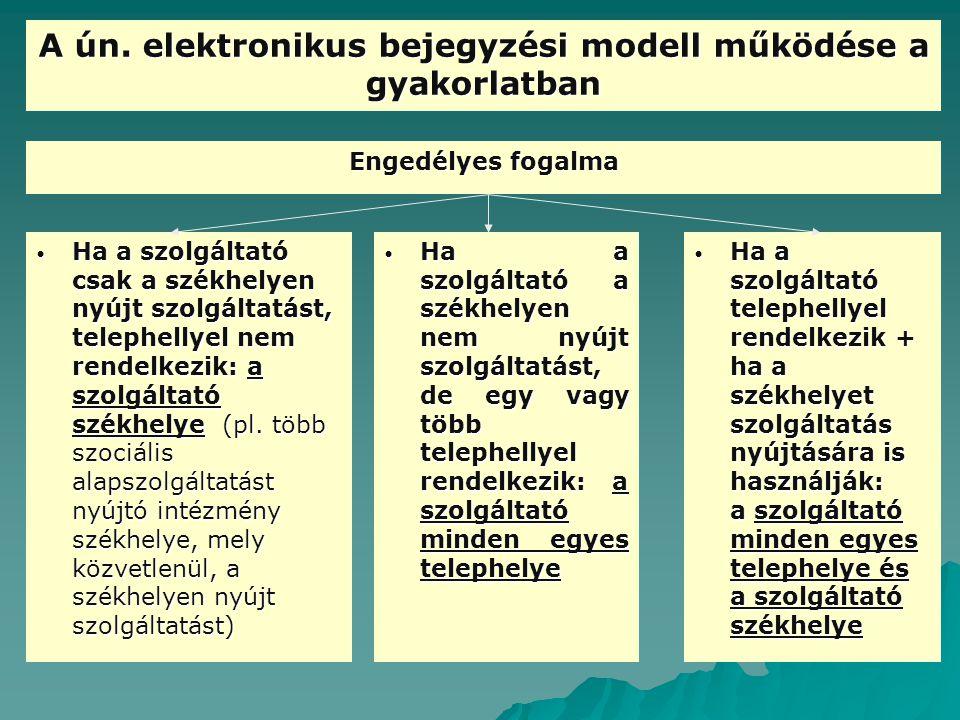 A ún. elektronikus bejegyzési modell működése a gyakorlatban Engedélyes fogalma Ha a szolgáltató a székhelyen nem nyújt szolgáltatást, de egy vagy töb
