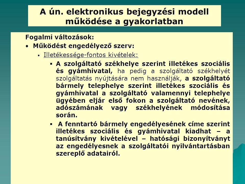 A ún. elektronikus bejegyzési modell működése a gyakorlatban Fogalmi változások: Működést engedélyező szerv:Működést engedélyező szerv: Illetékessége-