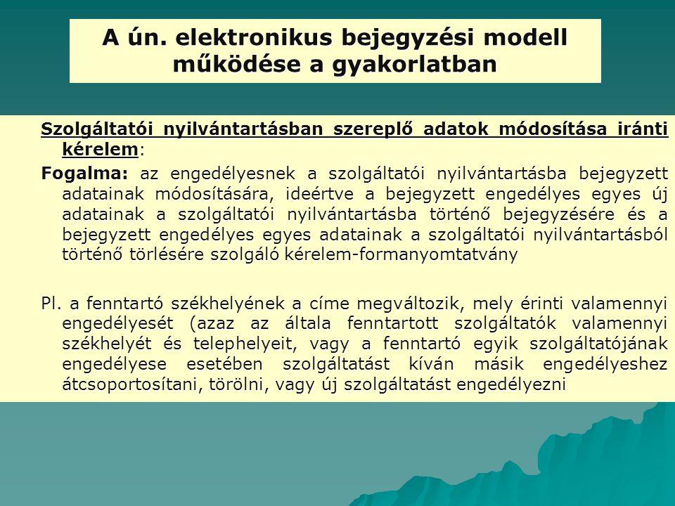 A ún. elektronikus bejegyzési modell működése a gyakorlatban Szolgáltatói nyilvántartásban szereplő adatok módosítása iránti kérelem: Fogalma: az enge
