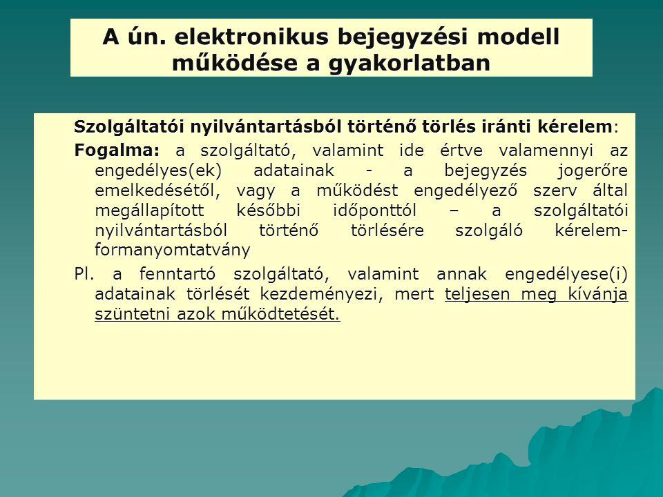 A ún. elektronikus bejegyzési modell működése a gyakorlatban Szolgáltatói nyilvántartásból történő törlés iránti kérelem: Fogalma: a szolgáltató, vala