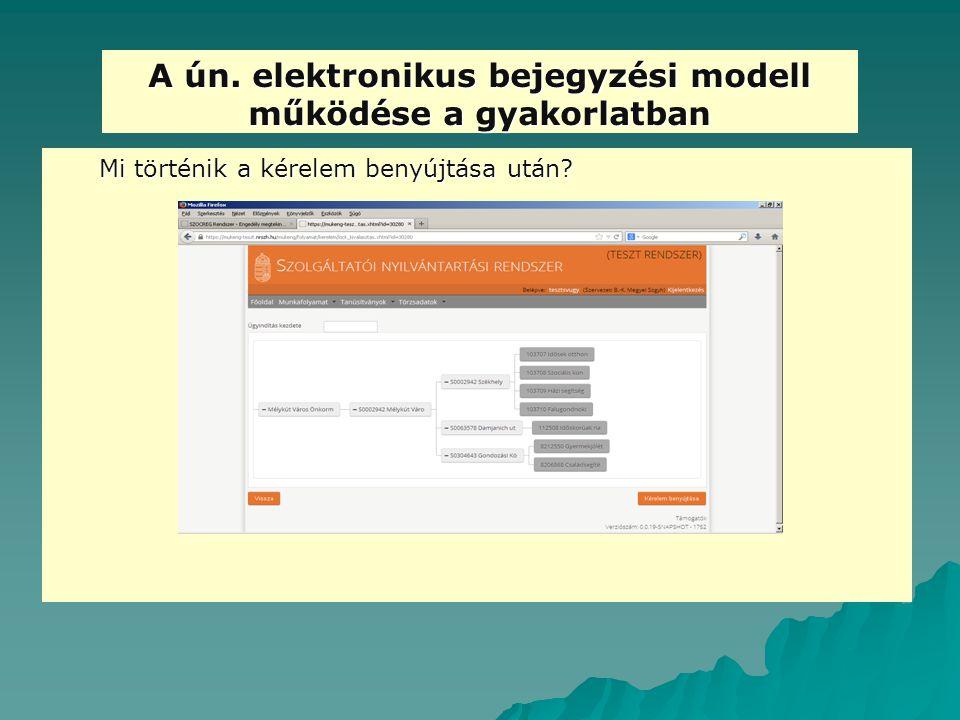 A ún. elektronikus bejegyzési modell működése a gyakorlatban Mi történik a kérelem benyújtása után?