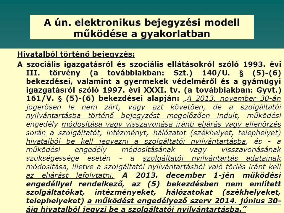 A ún. elektronikus bejegyzési modell működése a gyakorlatban Hivatalból történő bejegyzés: A szociális igazgatásról és szociális ellátásokról szóló 19