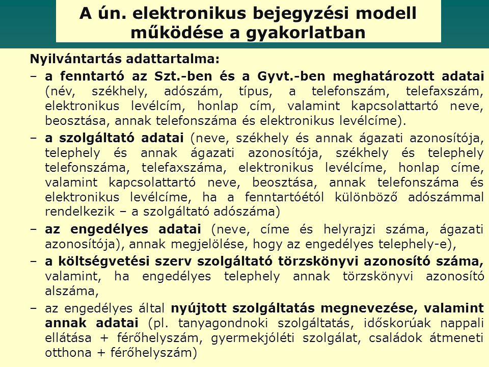 A ún. elektronikus bejegyzési modell működése a gyakorlatban Nyilvántartás adattartalma: –a fenntartó az Szt.-ben és a Gyvt.-ben meghatározott adatai