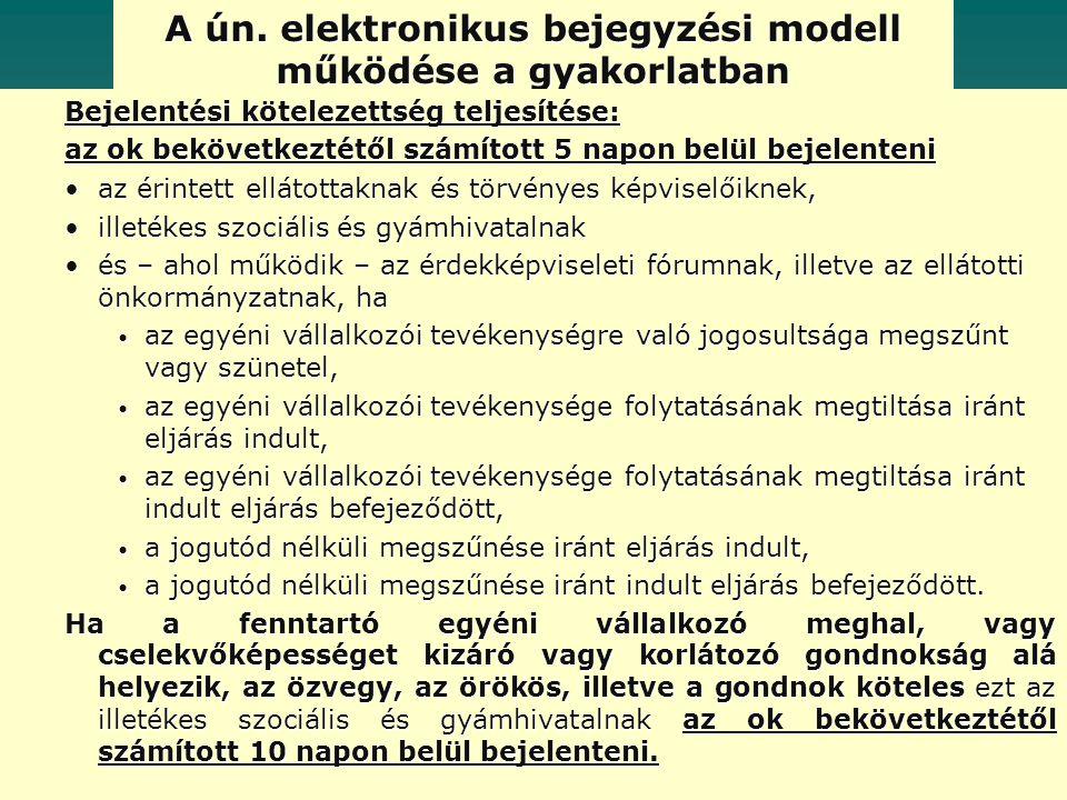 A ún. elektronikus bejegyzési modell működése a gyakorlatban Bejelentési kötelezettség teljesítése: az ok bekövetkeztétől számított 5 napon belül beje