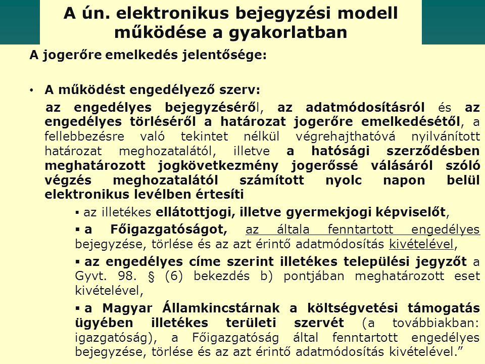 A ún. elektronikus bejegyzési modell működése a gyakorlatban A jogerőre emelkedés jelentősége: A működést engedélyező szerv: A működést engedélyező sz