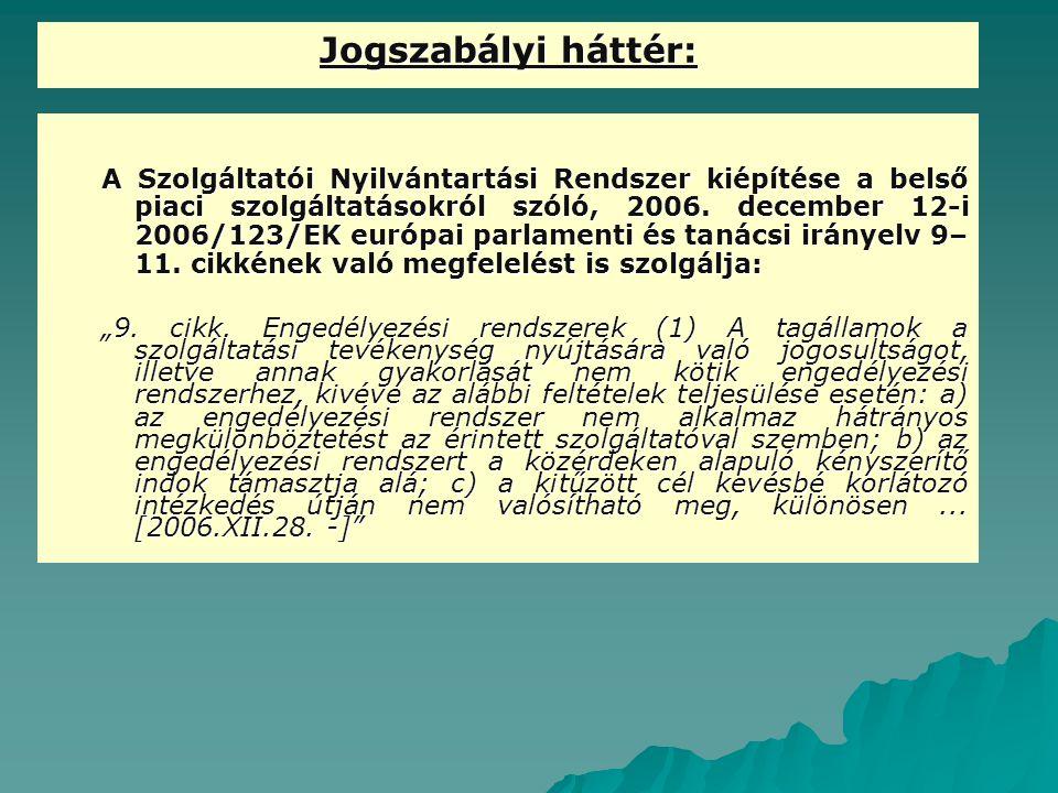 Jogszabályi háttér: A Szolgáltatói Nyilvántartási Rendszer kiépítése a belső piaci szolgáltatásokról szóló, 2006. december 12-i 2006/123/EK európai pa