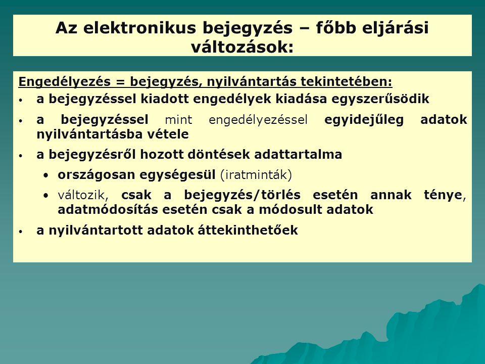 Az elektronikus bejegyzés – főbb eljárási változások: Engedélyezés = bejegyzés, nyilvántartás tekintetében: a bejegyzéssel kiadott engedélyek kiadása