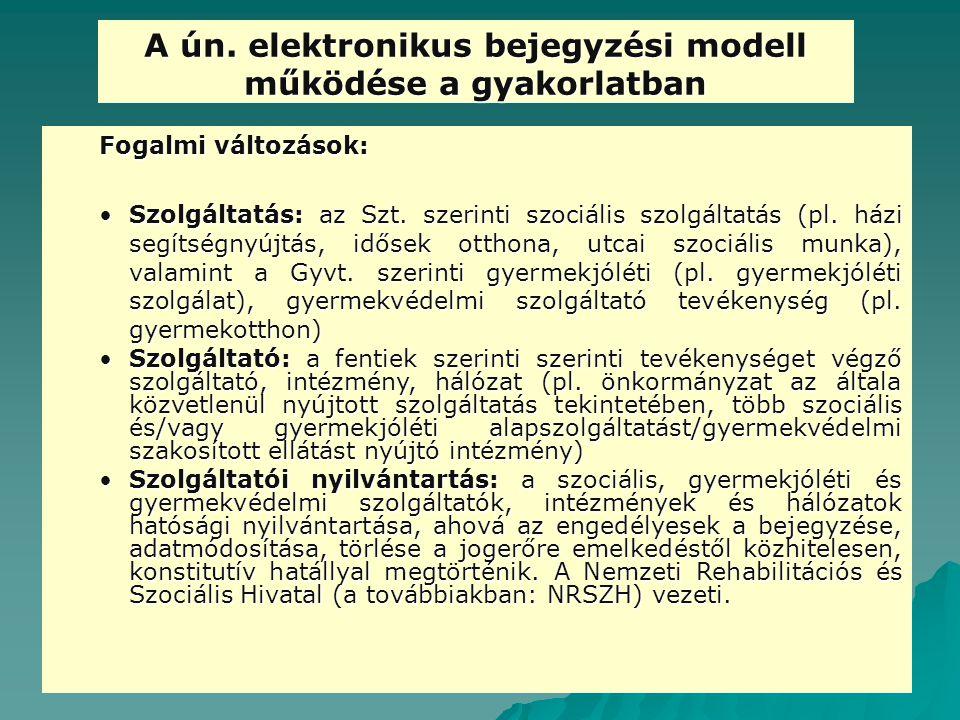 A ún. elektronikus bejegyzési modell működése a gyakorlatban Fogalmi változások: Szolgáltatás: az Szt. szerinti szociális szolgáltatás (pl. házi segít
