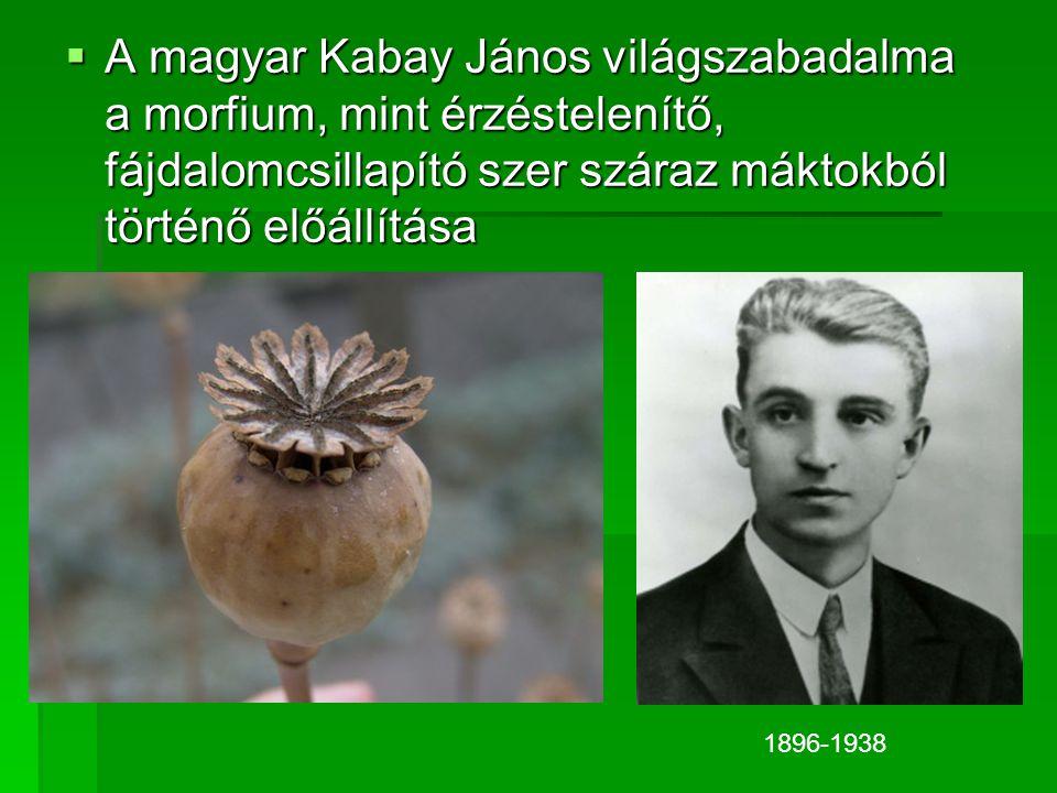 AAAA magyar Kabay János világszabadalma a morfium, mint érzéstelenítő, fájdalomcsillapító szer száraz máktokból történő előállítása 1896-1938