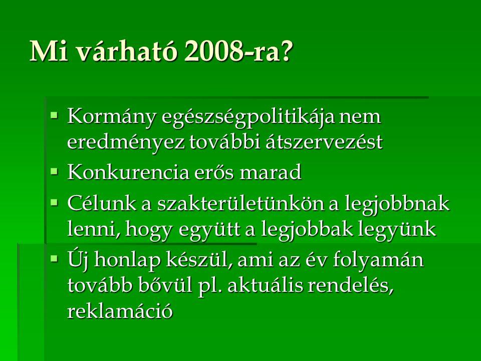 Mi várható 2008-ra?  Kormány egészségpolitikája nem eredményez további átszervezést  Konkurencia erős marad  Célunk a szakterületünkön a legjobbnak