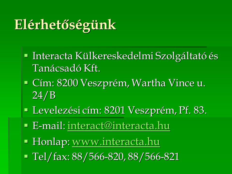 Elérhetőségünk  Interacta Külkereskedelmi Szolgáltató és Tanácsadó Kft.  Cím: 8200 Veszprém, Wartha Vince u. 24/B  Levelezési cím: 8201 Veszprém, P