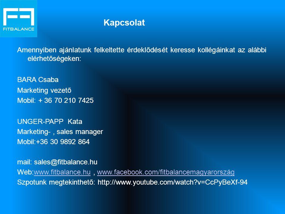 Kapcsolat Amennyiben ajánlatunk felkeltette érdeklődését keresse kollégáinkat az alábbi elérhetőségeken: BARA Csaba Marketing vezető Mobil: + 36 70 21