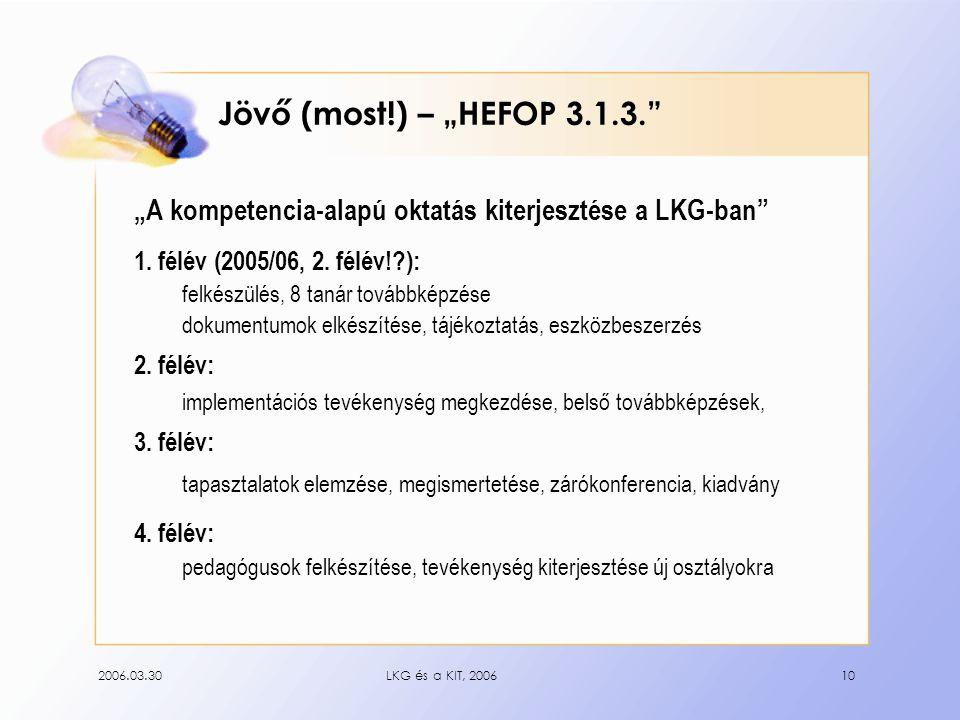 """2006.03.30LKG és a KIT, 200610 Jövő (most!) – """"HEFOP 3.1.3. """"A kompetencia-alapú oktatás kiterjesztése a LKG-ban 1."""