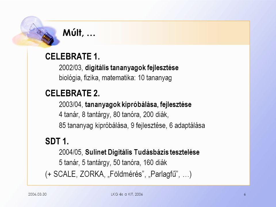 2006.03.30LKG és a KIT, 20067 Tapasztalatok + diákok kedve, lelkesedése, érdeklődése; + gyakorlat a KIT értelmes használatában; + idegen nyelv gyakorlása; + mélyebb, sokszínűbb tananyagismeret; – sok előkészítő munka; – szoftverek működési hiányosságai; – némely anyag speciális szoftverigénye; + diákok rugalmassága; segítőkészsége;  + tanárok kedve, lelkesedése, érdeklődése