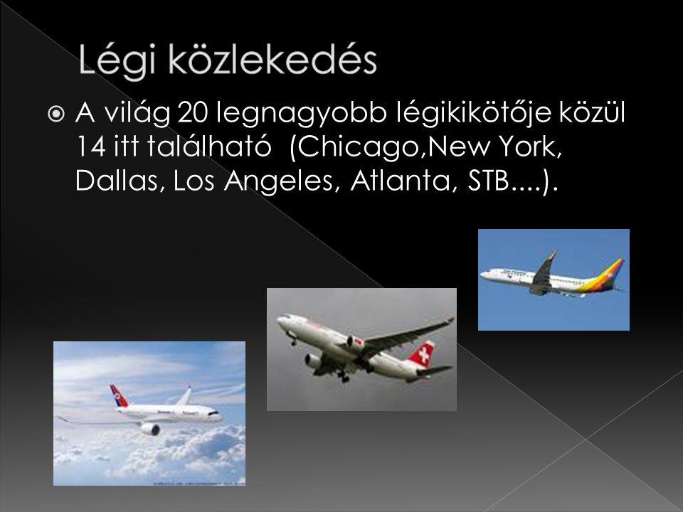  A világ 20 legnagyobb légikikötője közül 14 itt található (Chicago,New York, Dallas, Los Angeles, Atlanta, STB....).
