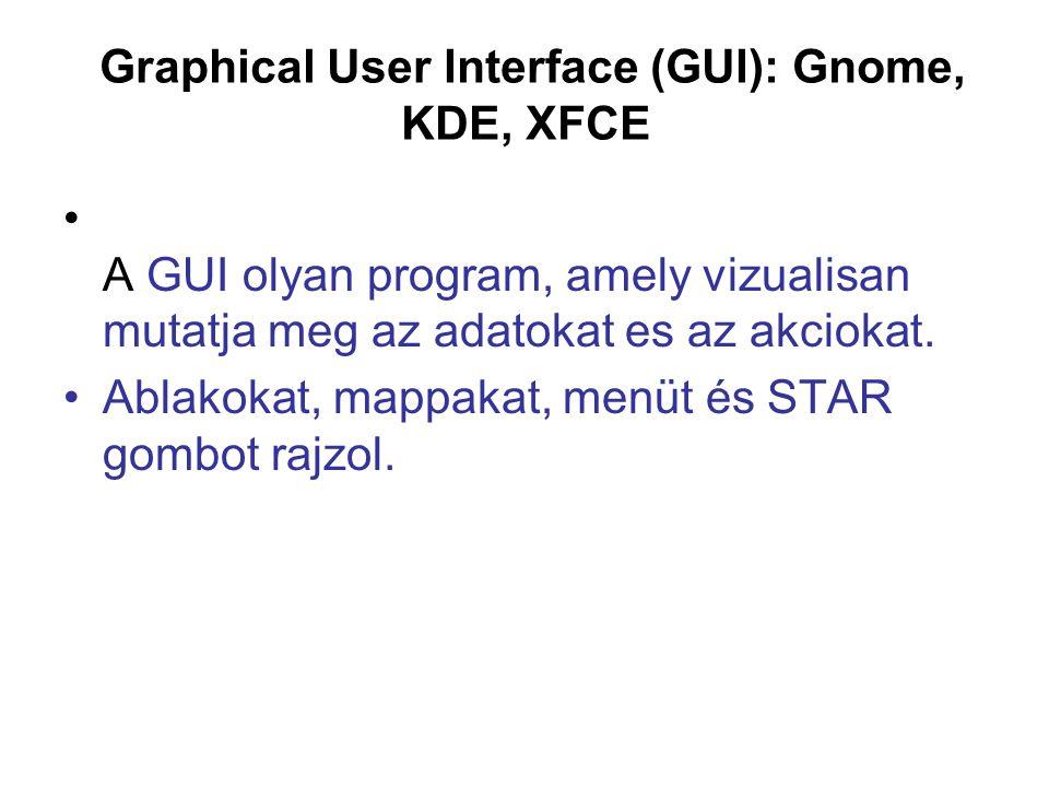 Graphical User Interface (GUI): Gnome, KDE, XFCE A GUI olyan program, amely vizualisan mutatja meg az adatokat es az akciokat. Ablakokat, mappakat, me