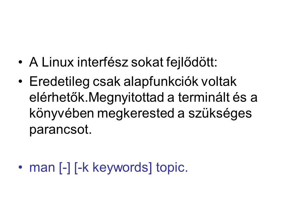 A Linux interfész sokat fejlődött: Eredetileg csak alapfunkciók voltak elérhetők.Megnyitottad a terminált és a könyvében megkerested a szükséges parancsot.