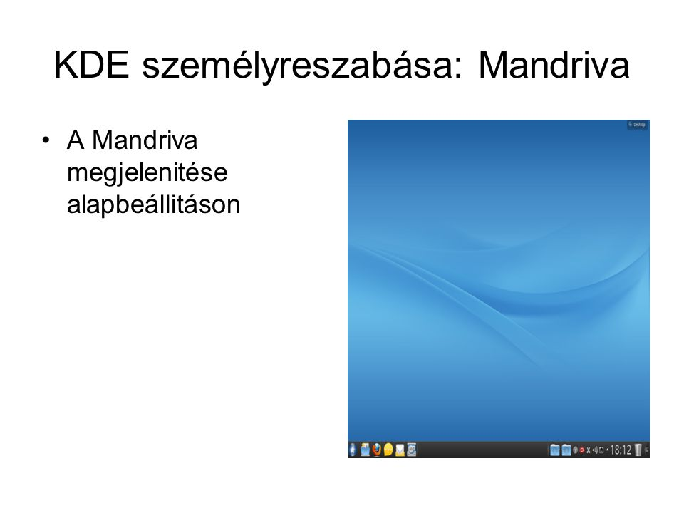 KDE személyreszabása: Mandriva A Mandriva megjelenitése alapbeállitáson