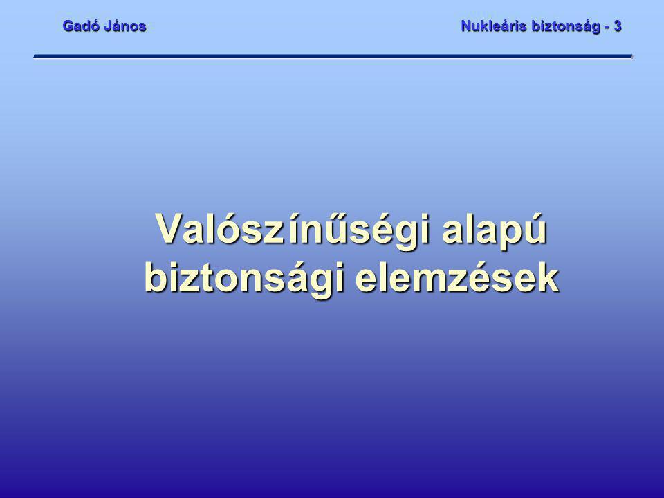 Gadó János Nukleáris biztonság - 3 bme_4.ppt2 Tartalom  A valószínűségi elemzések céljai  A valószínűségi elemzések terjedelme, szintjei  Eseményfák és hibafák  Az elemzések adatbázisa  Az elemzések eredményei  A leállított állapot speciális kezelése  A belső és külső hazárdok speciális kezelése  A zónasérülési gyakoriság és az erőműsérülési állapotok  A kibocsátási kategóriák és a nagy radioaktív kibocsátások gyakoriságai