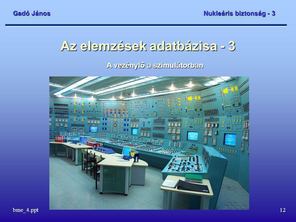 Gadó János Nukleáris biztonság - 3 bme_4.ppt12 Az elemzések adatbázisa - 3 A vezénylő a szimulátorban