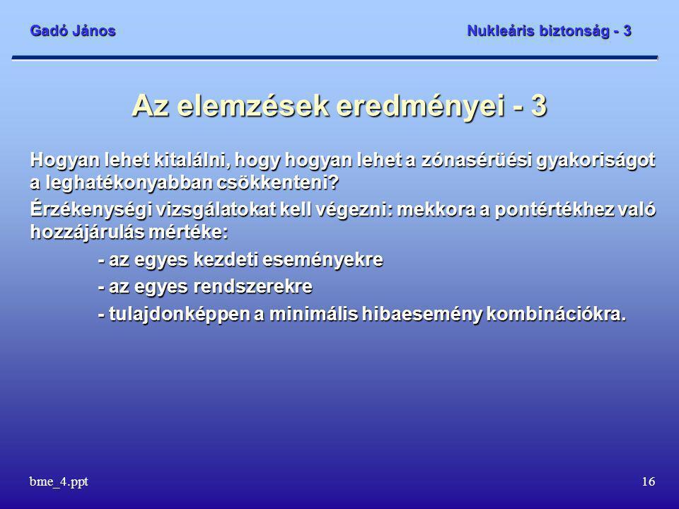 Gadó János Nukleáris biztonság - 3 bme_4.ppt16 Az elemzések eredményei - 3 Hogyan lehet kitalálni, hogy hogyan lehet a zónasérüési gyakoriságot a leghatékonyabban csökkenteni.