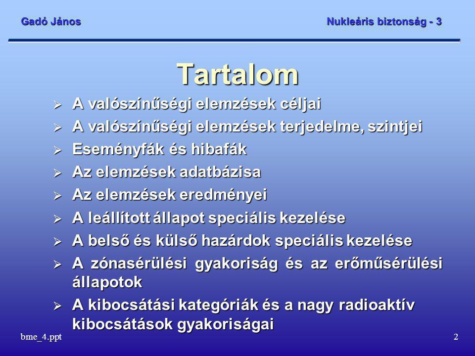 Gadó János Nukleáris biztonság - 3 bme_4.ppt13 Az elemzések adatbázisa – 4 Az operátor képernyői a szimulátorban