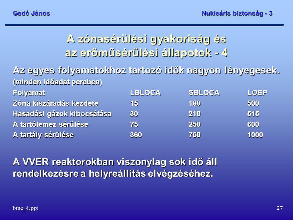 Gadó János Nukleáris biztonság - 3 bme_4.ppt27 A zónasérülési gyakoriság és az erőműsérülési állapotok - 4 Az egyes folyamatokhoz tartozó idők nagyon lényegesek.