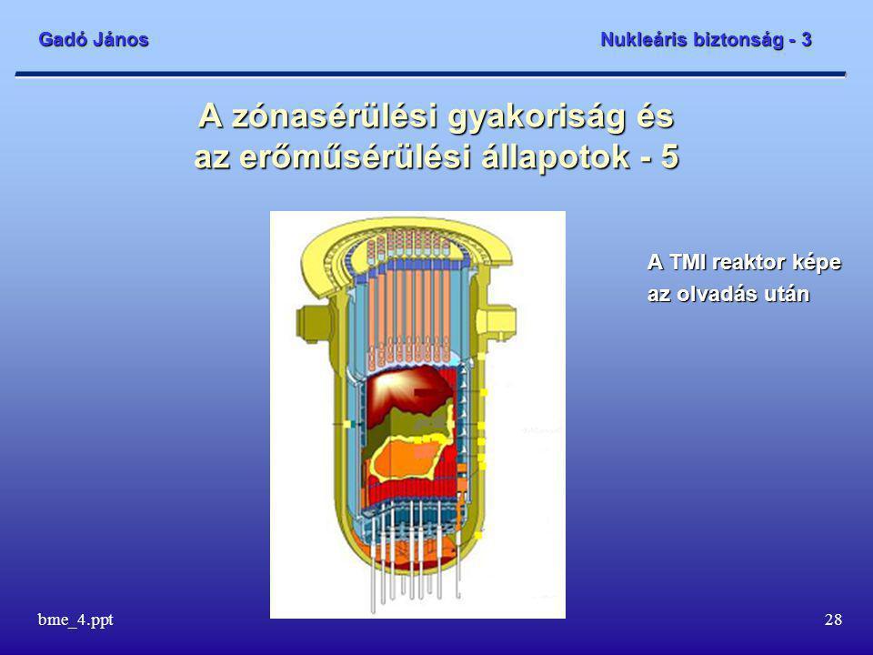 Gadó János Nukleáris biztonság - 3 bme_4.ppt28 A zónasérülési gyakoriság és az erőműsérülési állapotok - 5 A TMI reaktor képe az olvadás után